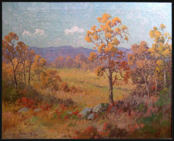 Framed Robert Wood west texas - fall painting
