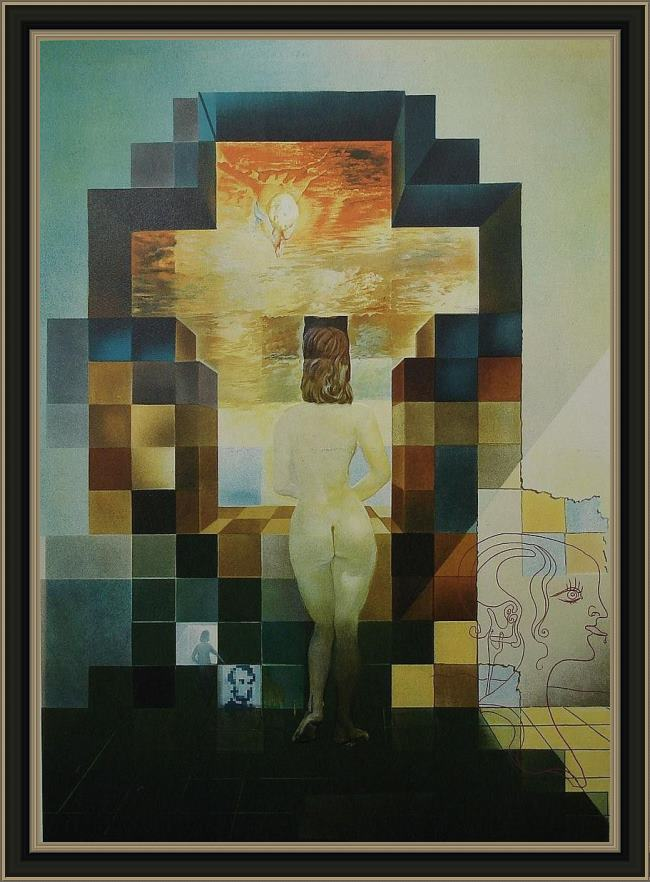 Framed Salvador Dali lincoln in dali vision painting