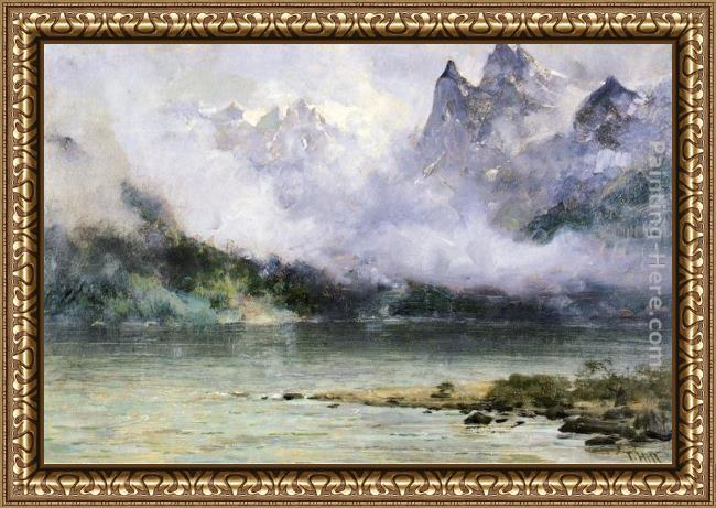 Framed Thomas Hill alaska scene near juneau painting