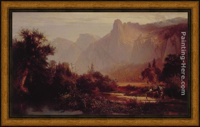 Framed Thomas Hill yosemite valley painting