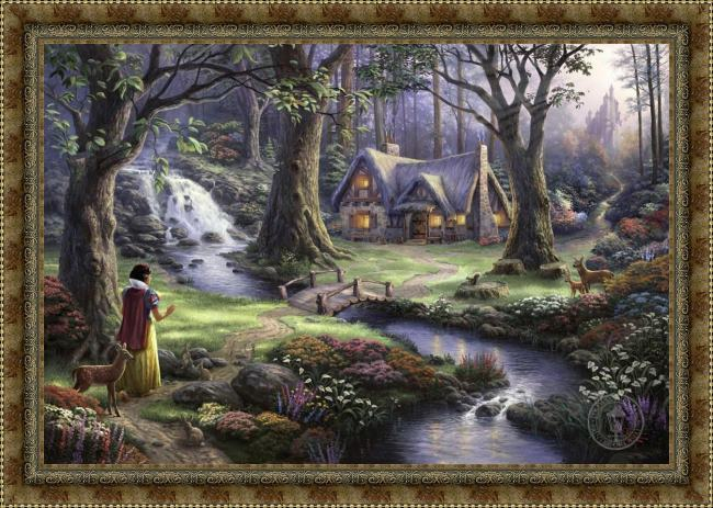 Framed Thomas Kinkade snow white discovers the cottage painting