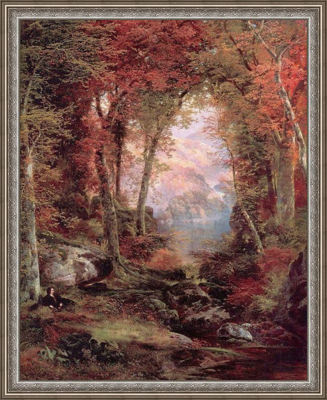 Framed Thomas Moran the autumnal woods under the trees painting