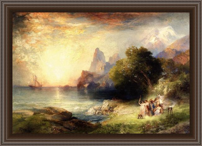 Framed Thomas Moran ulysses and the sirens painting