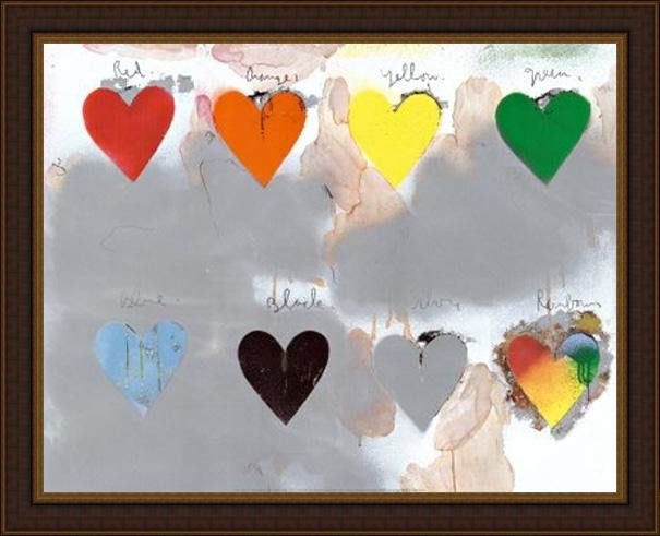 Framed Unknown jim dine hearts painting