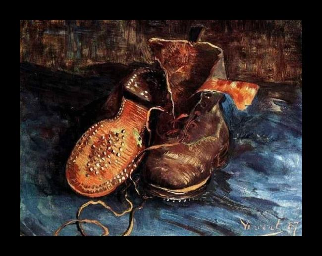 Framed Vincent van Gogh a pair of shoes 2 painting
