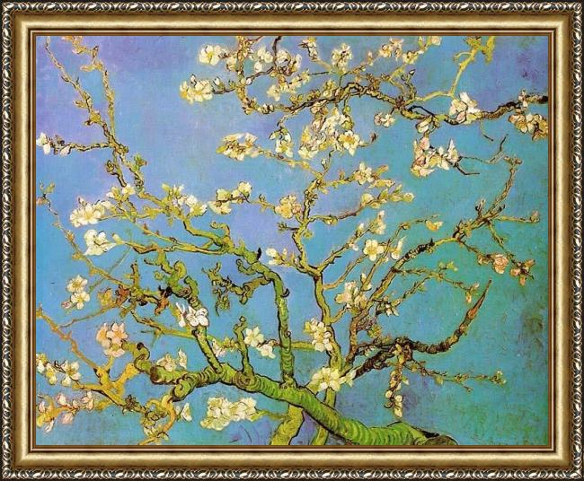 Framed Vincent van Gogh almond branches in bloom painting