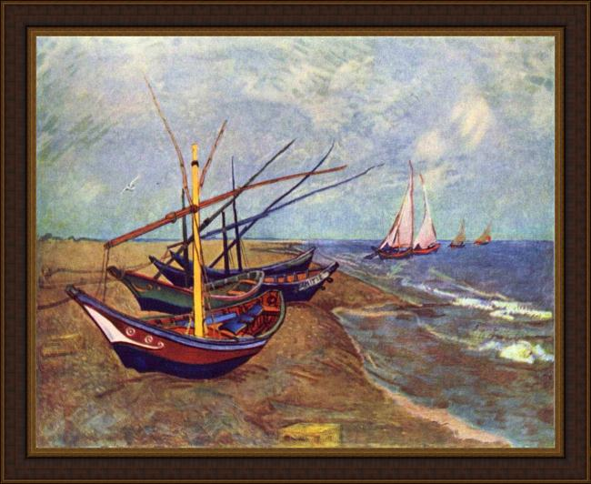 Framed Vincent van Gogh fishing boats on the beach at saints-maries painting