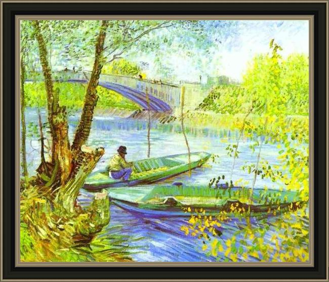 Framed Vincent van Gogh fishing in spring painting