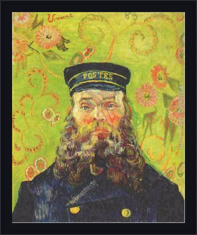 Framed Vincent van Gogh portrait of the postman joseph roulin painting