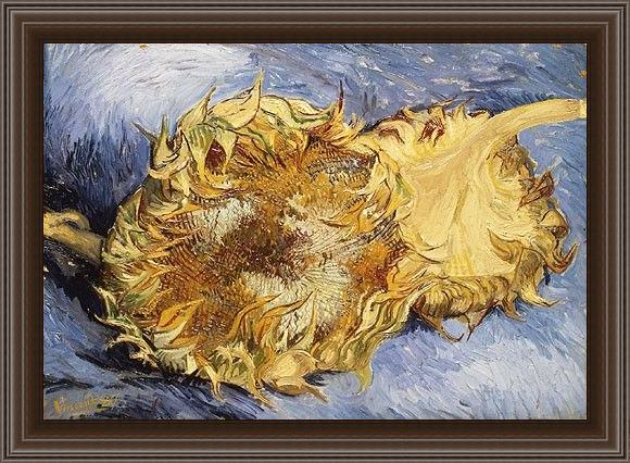 Framed Vincent van Gogh sunflowers painting