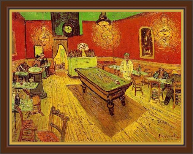 Framed Vincent van Gogh the night cafe painting