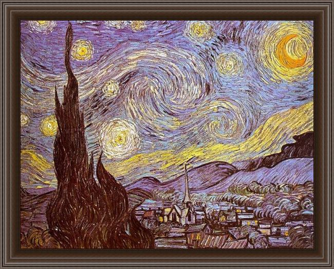 Framed Vincent van Gogh the starry night saint-remy painting
