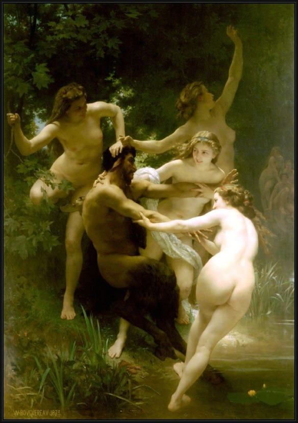 Framed William Bouguereau nymphs and satyr. painting