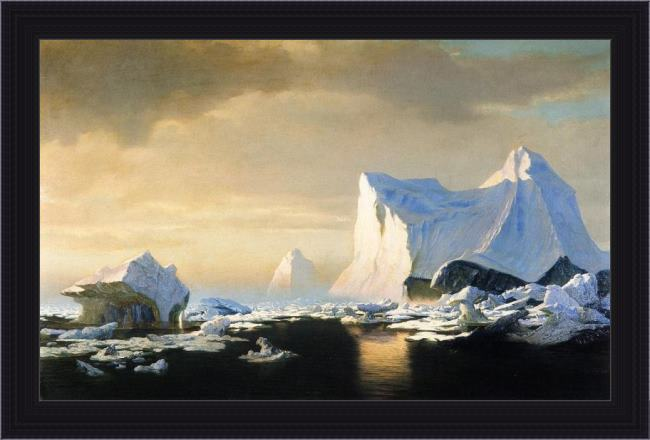 Framed William Bradford icebergs in the arctic painting