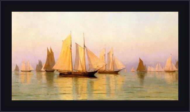 Framed William Bradford sloops and schooners at evening calm painting