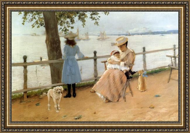 Framed William Merritt Chase afternoon by the sea aka gravesend bay painting