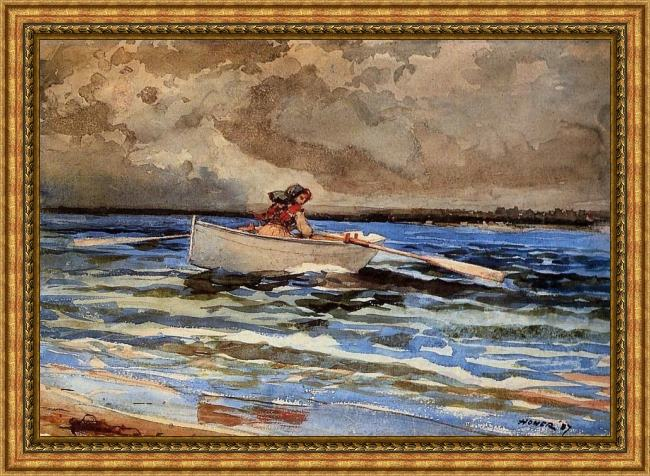 Framed Winslow Homer rowing at prout's neck painting