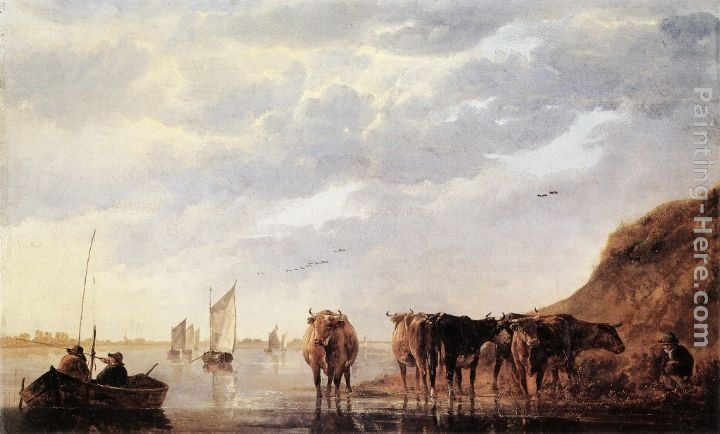 Aelbert Cuyp Herdsman with Five Cows by a River