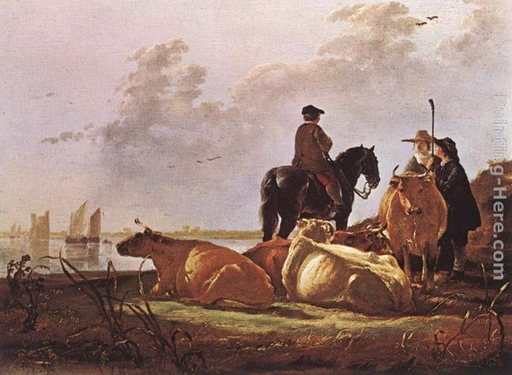 Aelbert Cuyp Peasants with Four Cows by the River Merwede