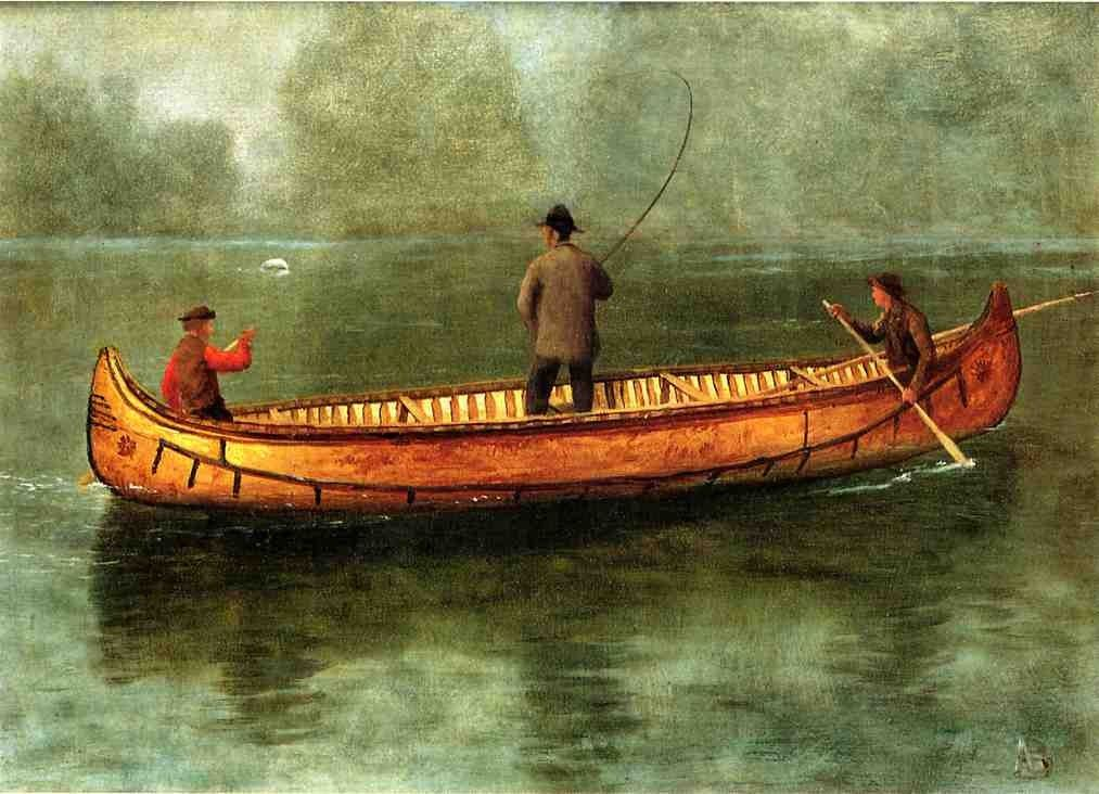 Albert Bierstadt Fishing from a Canoe