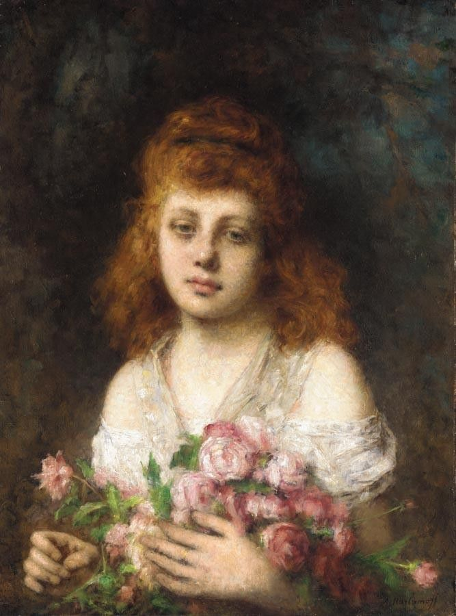 Alexei Alexeivich Harlamoff Auburn-haired Beauty with Bouqet of Roses