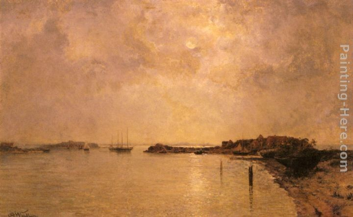 Alfred Wahlberg Coastal Village By Moonlight