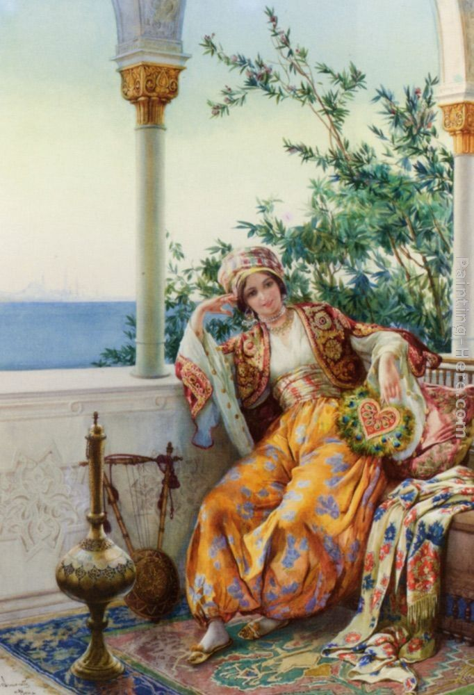 Amedeo Momo Simonetti A Turkish Beauty Resting on a Terrace
