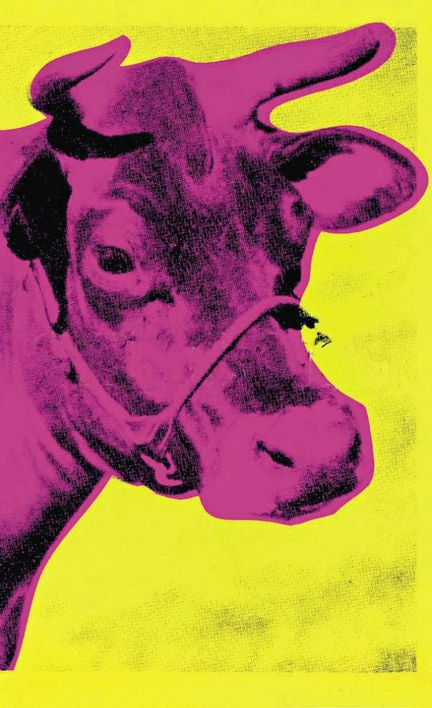 Andy Warhol Cow Pink on Yellow