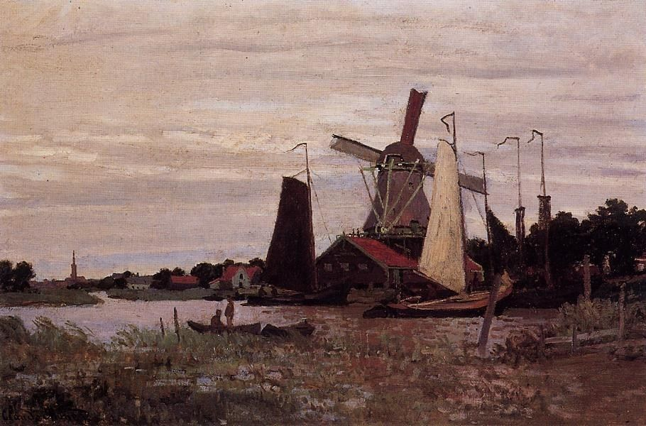 Claude Monet A Windmill at Zaandam