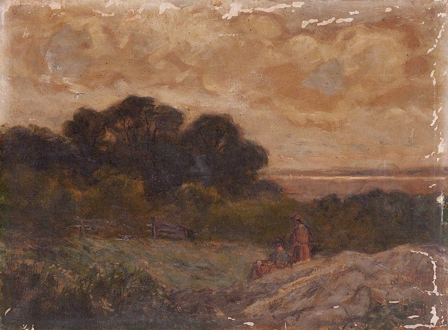 Edward Mitchell Bannister Landscape with Two Women Reclining on Rocks