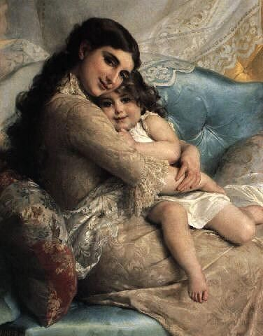 Emile Munier Portrait of a Mother and Daughter