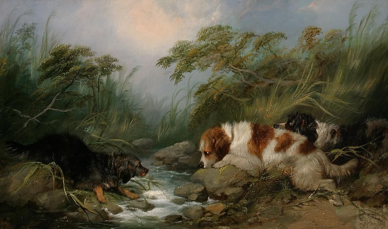 George Armfield Three Dogs by a Brook