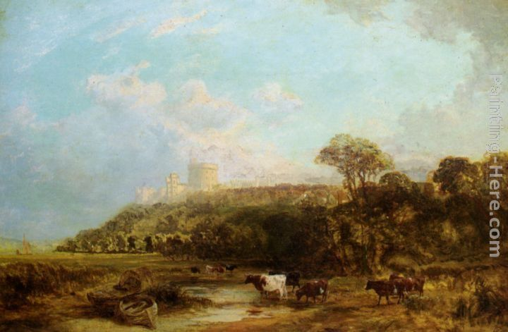 George Vicat Cole Cattle watering Windsor Castle beyond