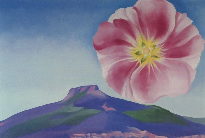 Georgia O'Keeffe Hollyhock Pink With Pedernal 1937