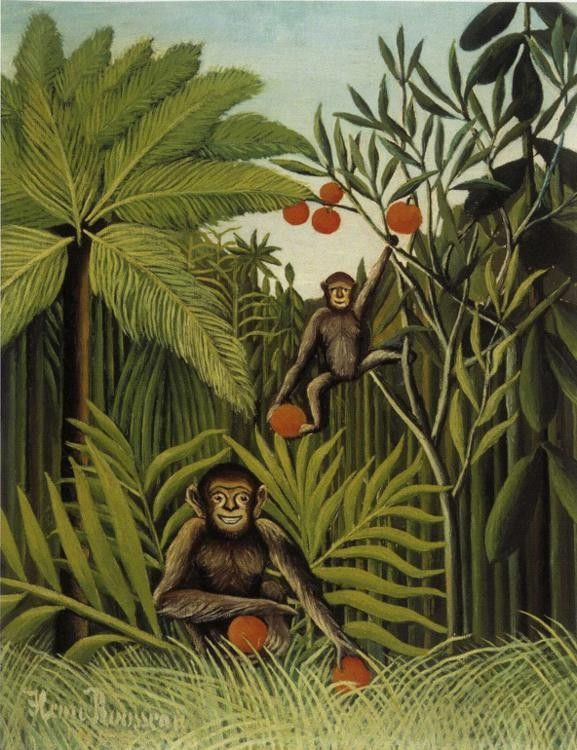 Henri Rousseau Two Monkeys in the Jungle