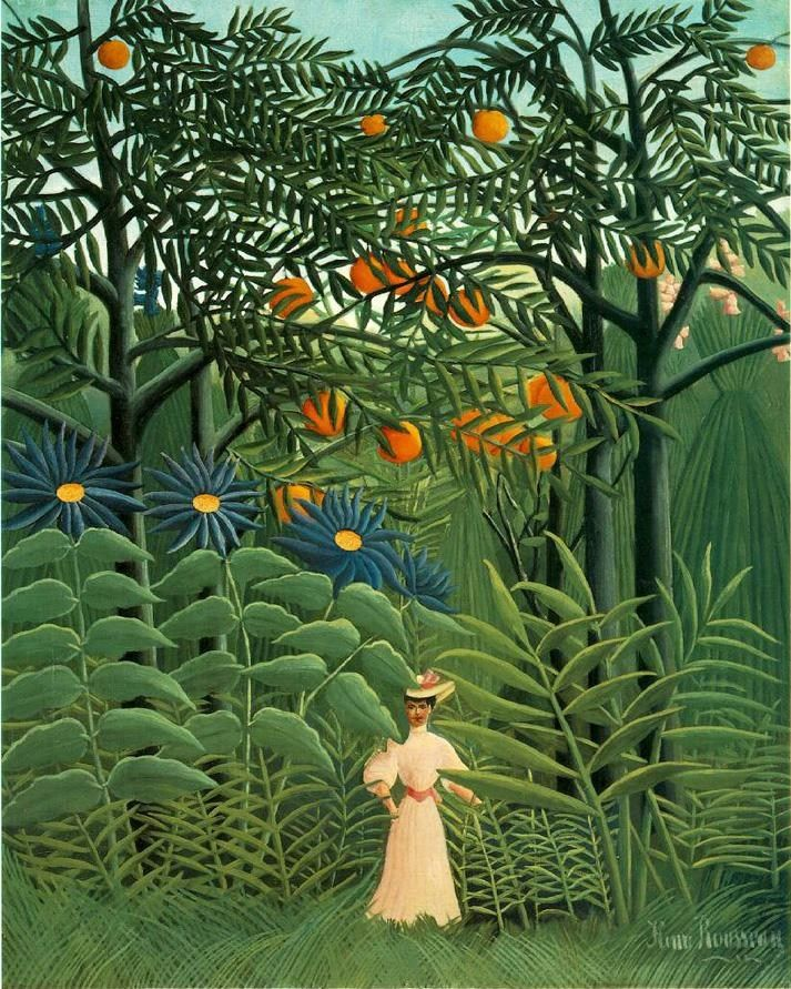 Henri Rousseau Woman Walking in an Exotic Forest