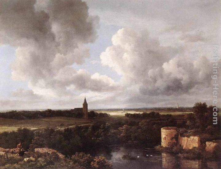Jacob van Ruisdael An Extensive Landscape with a Ruined Castle and a Village Church