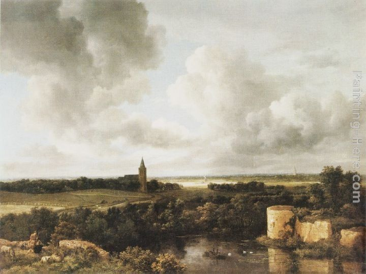 Jacob van Ruisdael Landscape with Church and Ruined Castle