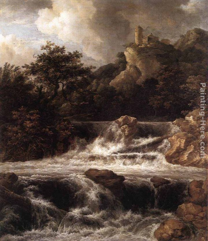 Jacob van Ruisdael Waterfall with Castle Built on the Rock