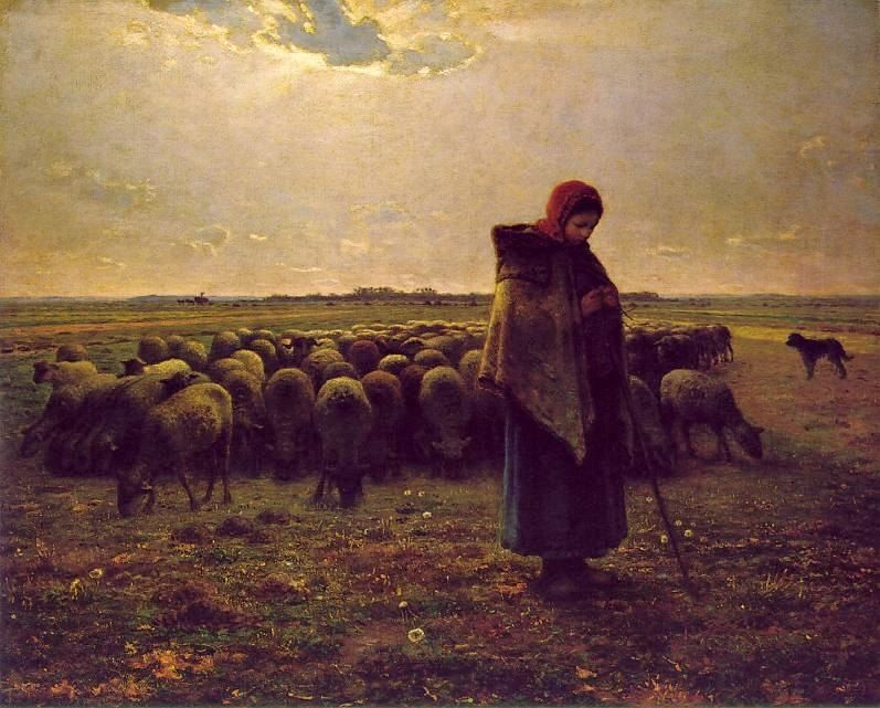 Jean Francois Millet Shepherdess with her flock