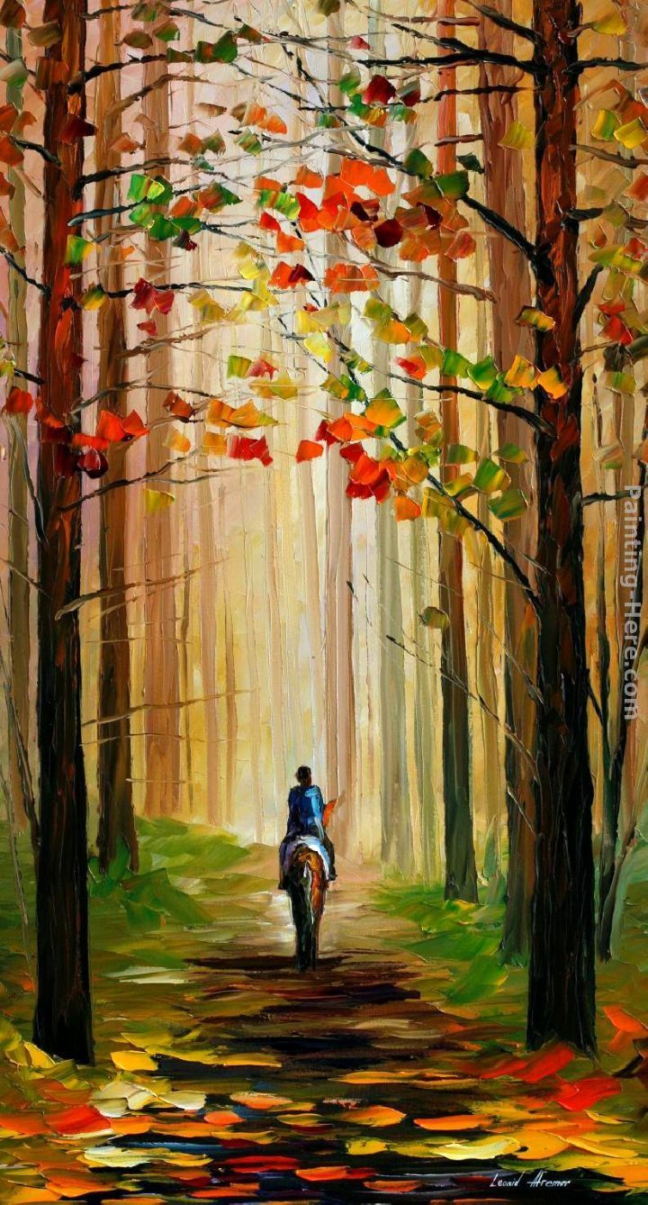 Leonid Afremov AUTUMN STROLL ON A HORSE