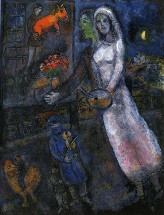 Marc Chagall Newlyweds and Violinist