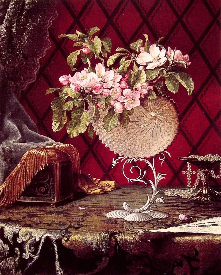 Martin Johnson Heade Still Life with Apple Blossoms in a Nautilus Shell