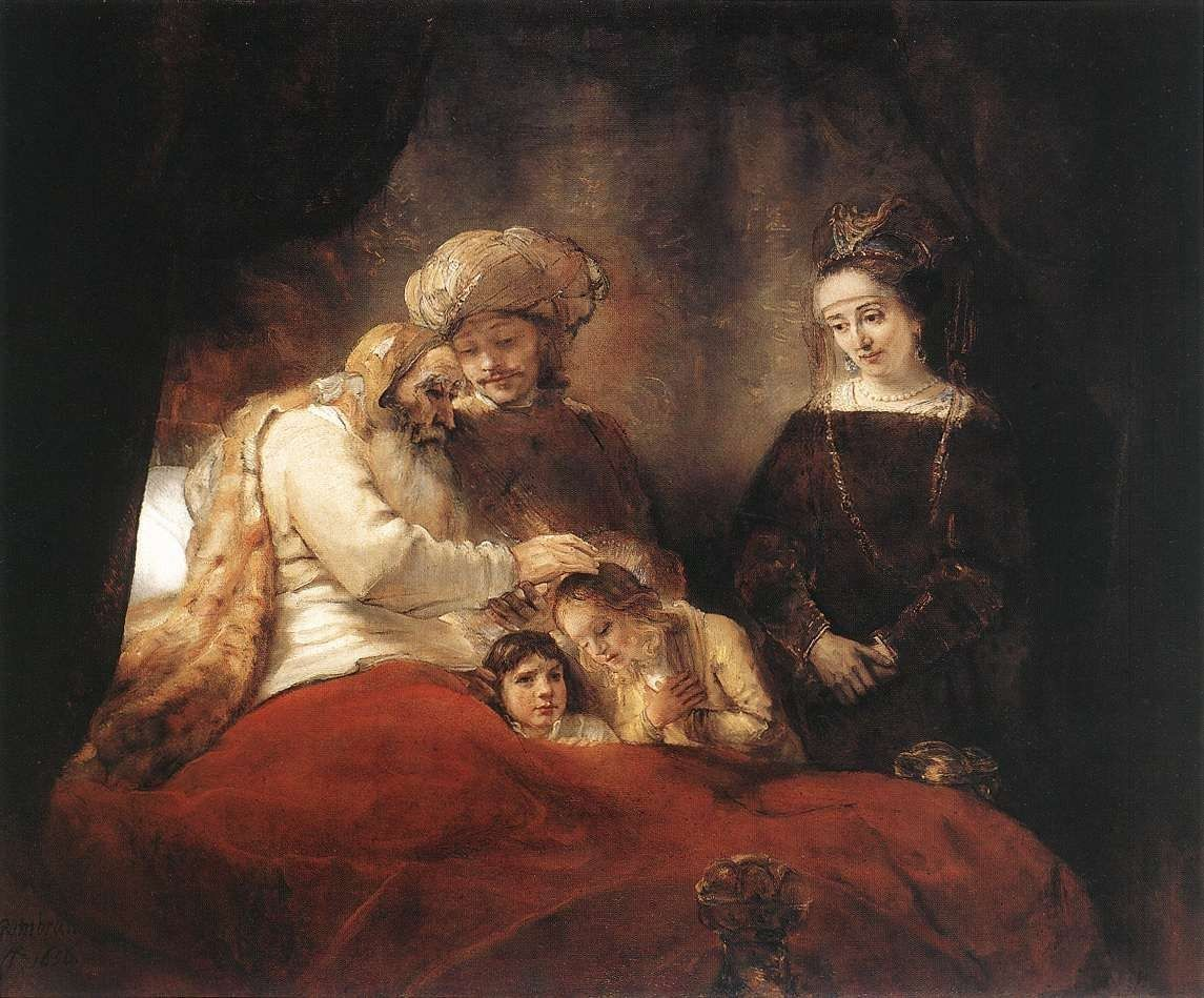 Rembrandt Jacob Blessing the Children of Joseph