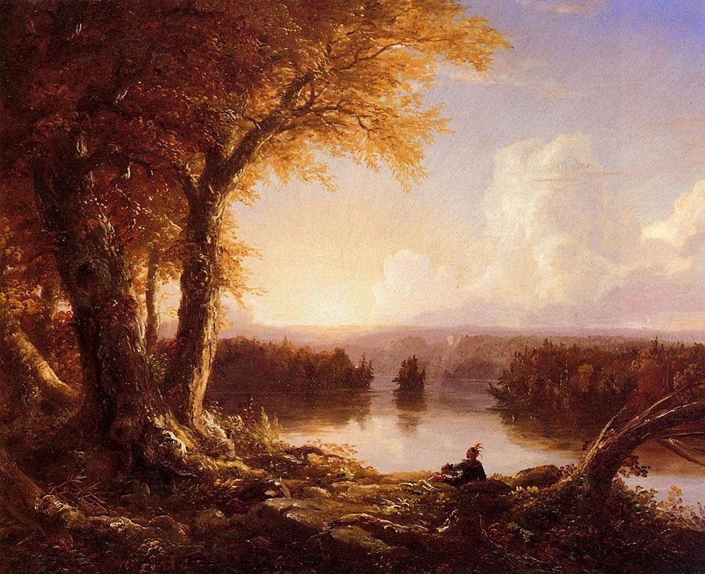 Thomas Cole Indian at Sunset