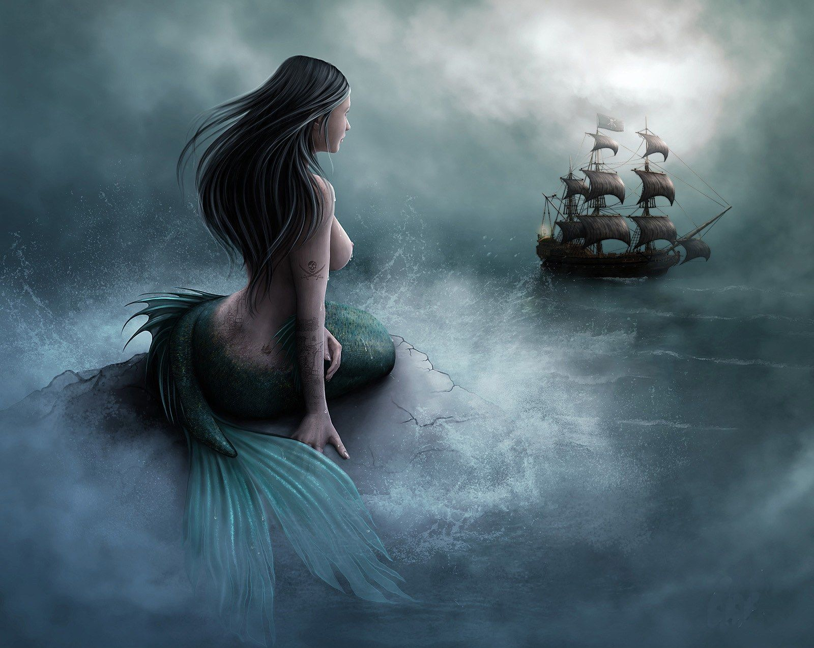 Unknown Mermaid and pirate ship