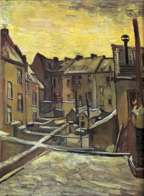 Vincent van Gogh Backyards of Old Houses in Antwerp in the Snow