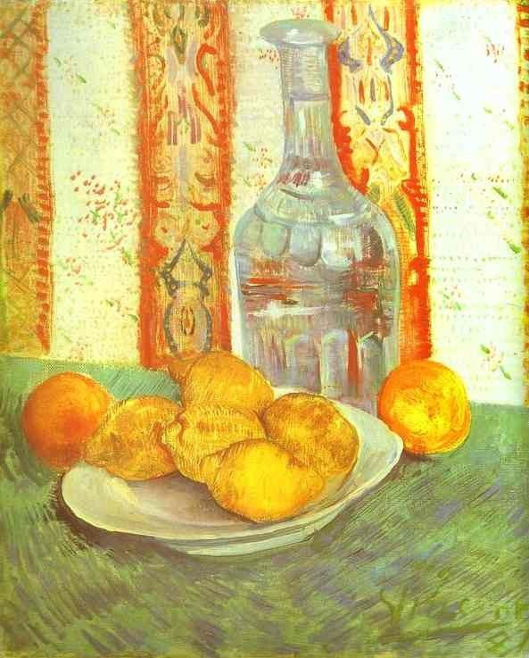 Vincent van Gogh Still Life with Bottle and Lemons on a Plate