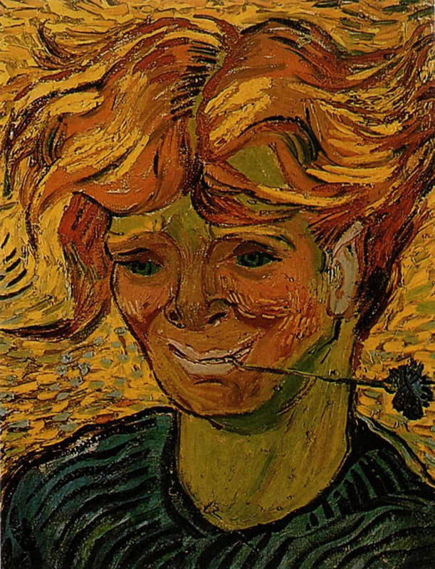 Vincent van Gogh Young Man with a Corflower