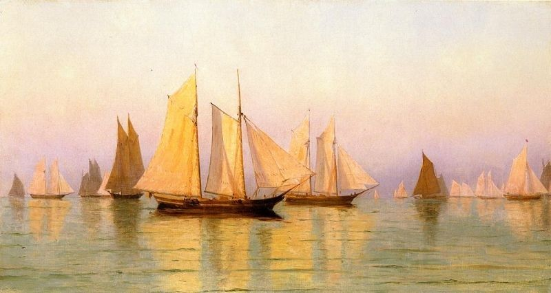 William Bradford Sloops and Schooners at Evening Calm